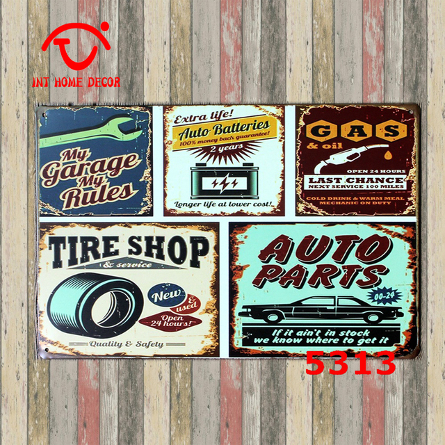 Garage Wall Poster Signs Tire Shop Sign Vintage Metal Plaque Tin Decal