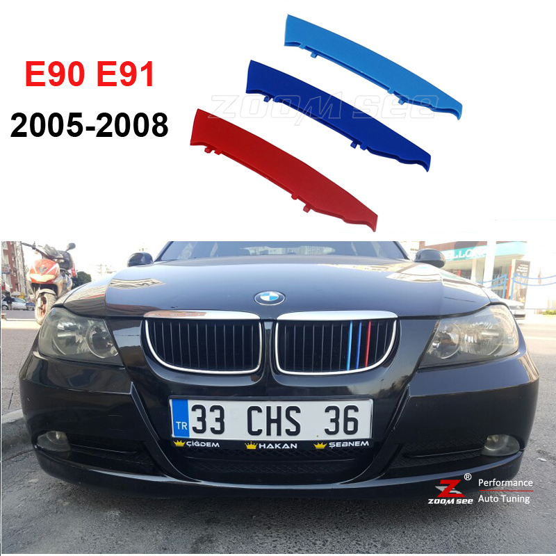 3D M Front Grille Trim Strips grill Cover motorsport Stickers For 2005-2008 BMW 3 series E90 E91 320 325 330 335 pair car front headlamp clear lens headlight plastic shell clear cover for bmw e90 e91 2004 2005 2006 2007