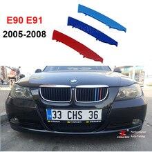 3D M motorsport Pegatinas Cubierta de la parrilla Parrilla Delantera Trim Tiras para 2005-2008 BMW serie 3 E90 E91 320 325 330 335