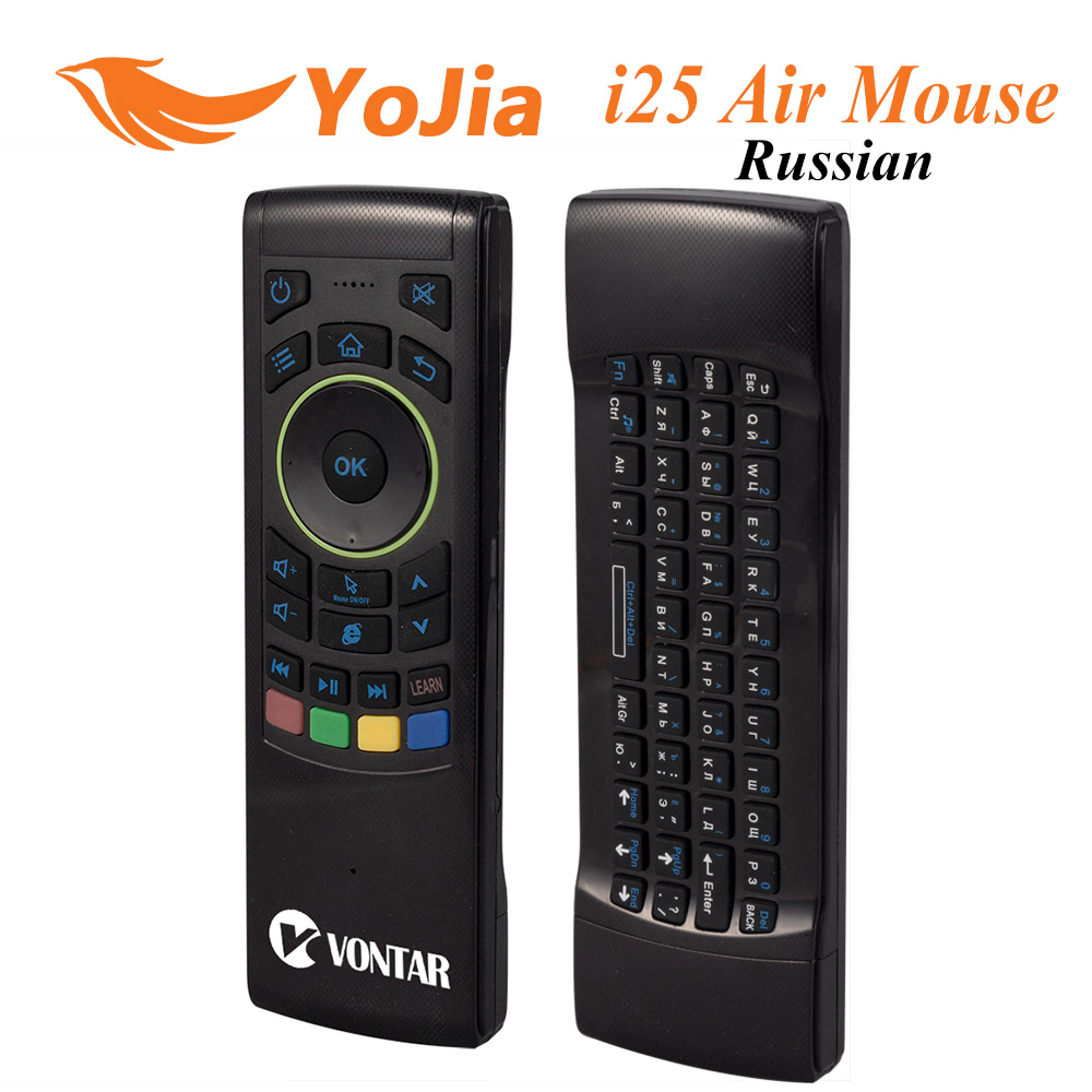 Original Russian i25 Keyboard English I25 Fly Air Mouse 2.4GHz FM5 Wireless Keyboard Pro IR Remote <font><b>Controller</b></font> For Android TV Box