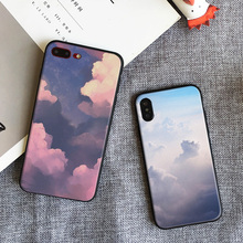 Sunset glow Cloud Cute Free Hang Rope Tpu Soft Silicone Mobile Phone Case Cover Shell Bag For Apple iPhone 5 SE 5S 6 6S 7 7 Plus
