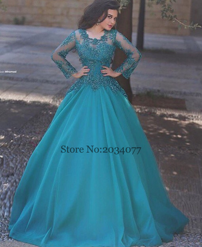 2017 New Designer Abiye gece elbisesi Long Turquoise Dresses Turkish  Evening Gowns Beaded Sequined Lace Custom Made Ball Gown-in Evening Dresses  from ... e8b05d35d7e0