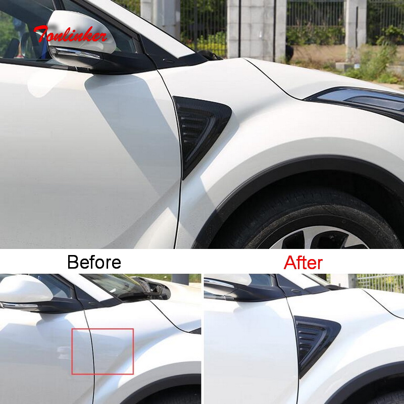 Tonlinker Cover Sticker For Toyota CHR 2018 Car Styling 2 Pcs ABS Chrome Front door Side fender Decoration Cover case Stickers