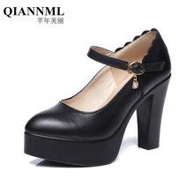 3d5bec0e Qiannml partida del Zapatos de cuero 2018 11 cm transpirable Super Tacones  altos Bombas mujeres solo Zapato Negro tamaño grande .
