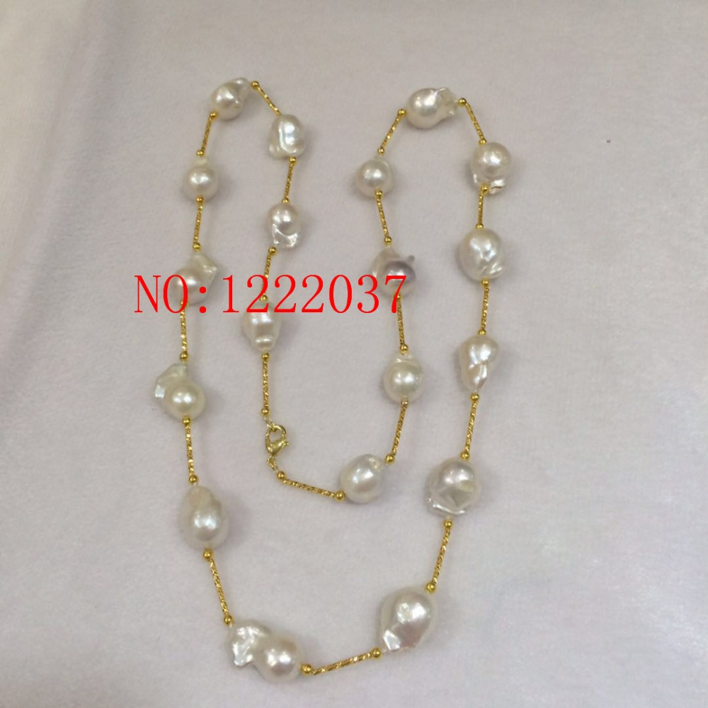 NEW 12-16MM large irregular shaped baroque pearl necklace 30inches Long sweater chain