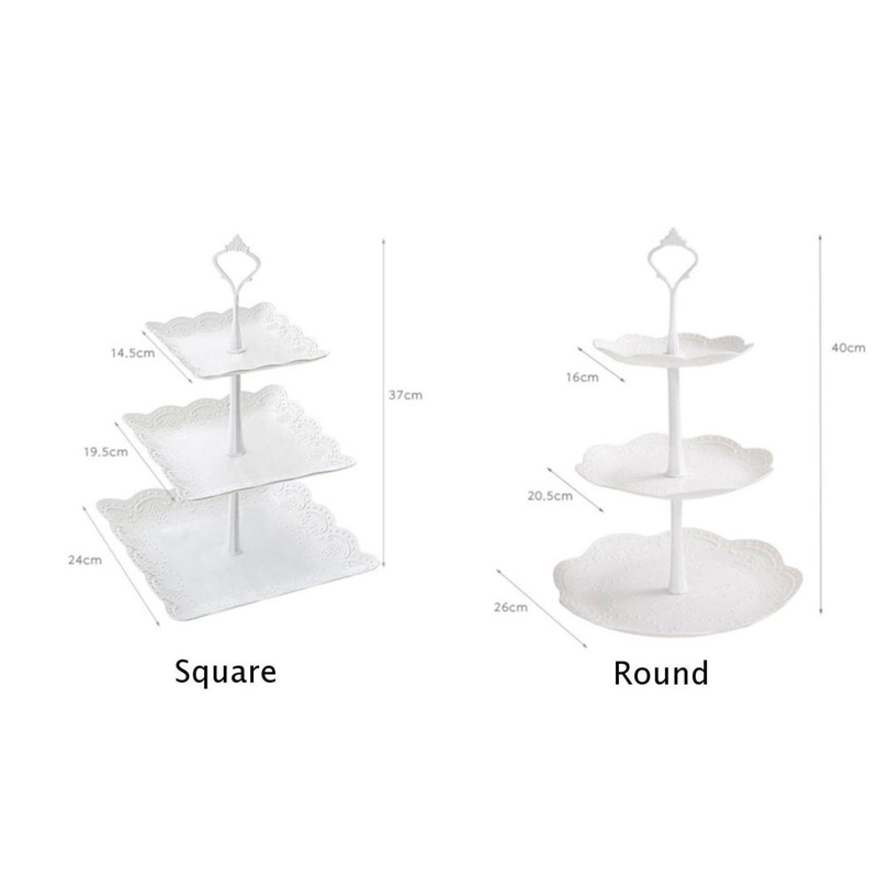 Image 4 - 2019 Cupcake Stand Square Round Wedding Birthday Cake Display Tower 3 Tier-in Storage Trays from Home & Garden