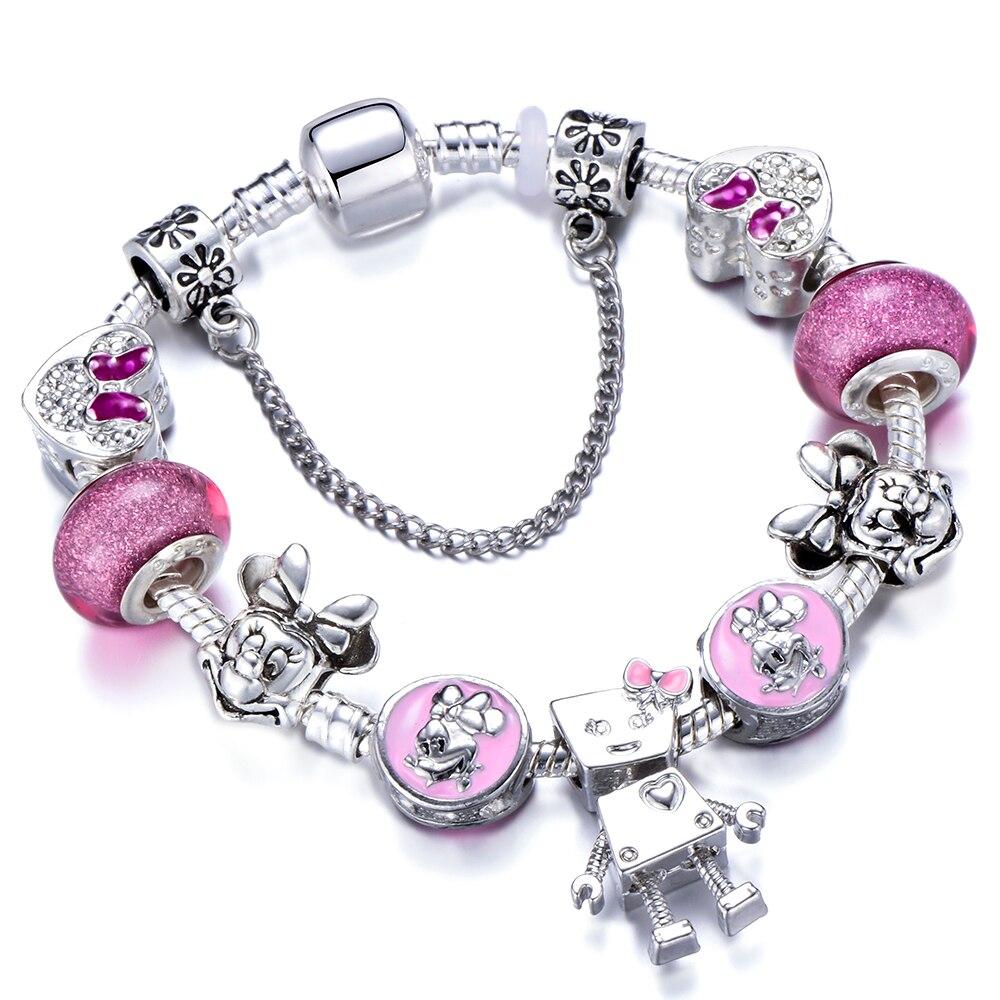 D Pink Crystal Charm Bracelets