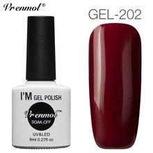 Vrenmol Bright Wine Red Colors Nail Polish Soak Off UV Gel Nail Art Design Gel Varnish Need Top Base Coat for Party