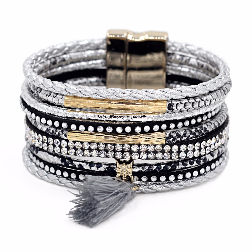 Vonnor Fashion Multilayer Styles Magnetic Clasp Leather Bracelets Bangles  For Women Handmade Tassels Pendant Female Jewelry
