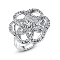 Ling Mei New Cubic Zirconia Pure Set Silver Engagement Ring Solid Classics Ring Size 6 7 8 9 10 For The Girl Friend Present