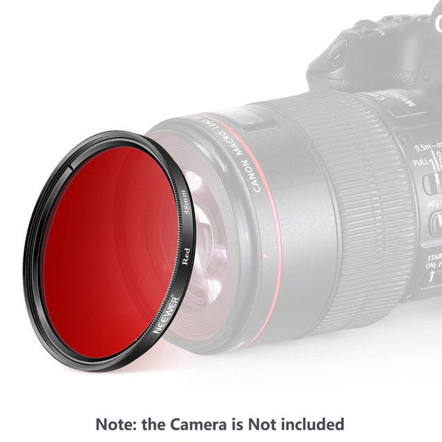 Neewer 58MM Red Filter for Canon EOS Rebel T6i T6 T5i T5 T4i T3i SL1 ...