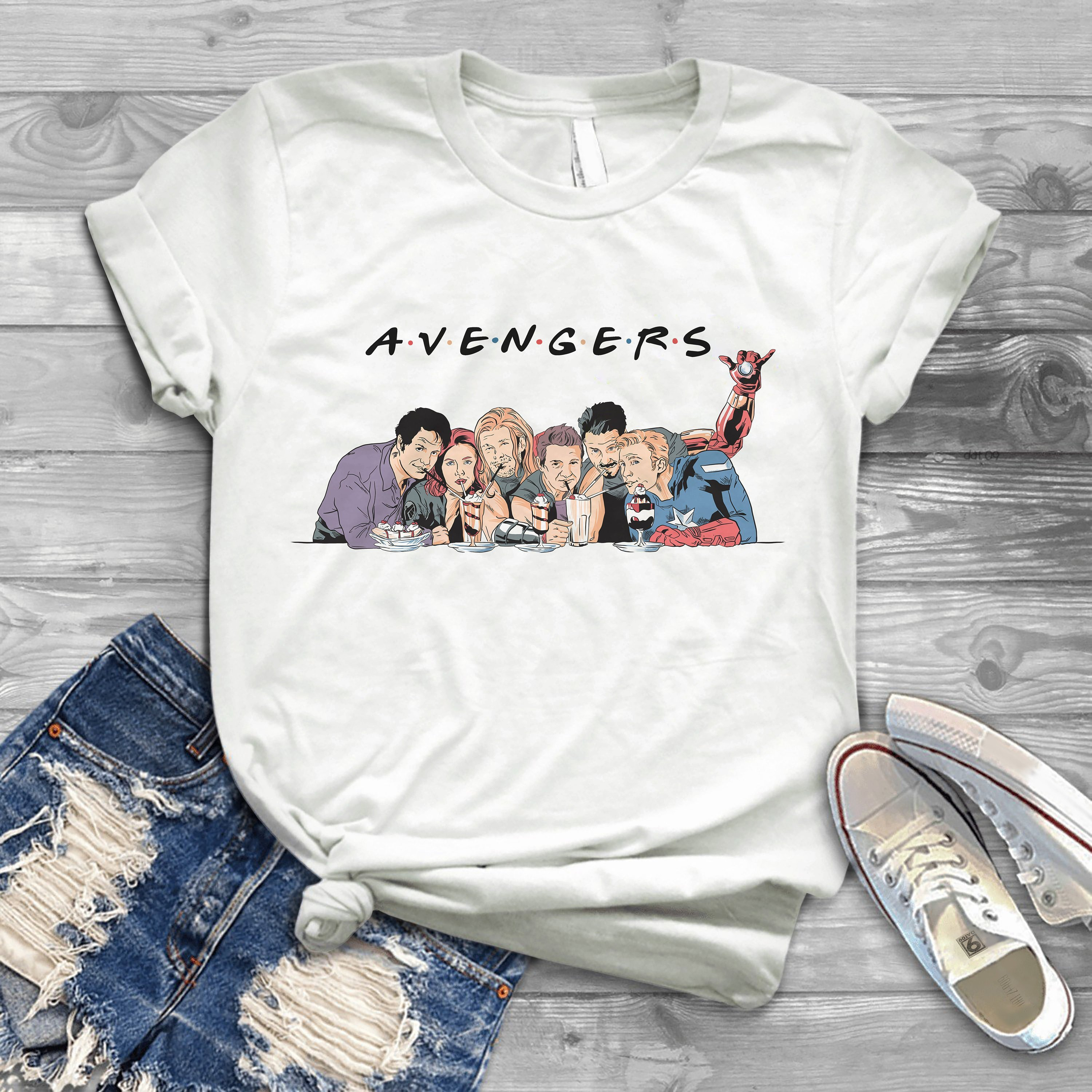 2019 New Summer Avengers Superheroes Shirt Friends Ladies Fit Shirt Funny Graphic End Game T-Shirt image