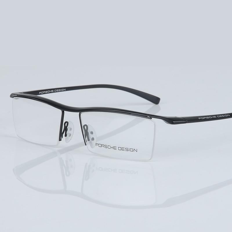 2017 nouveau hommes lunettes cadre titane optique demi-cadre lunettes lunettes carré vintage classique oculos de grau 8189 - 3