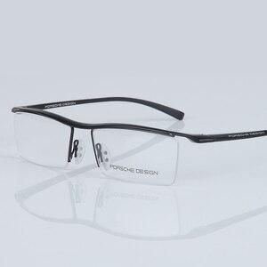 Image 3 - Armação de óculos masculina, armação de titânio, meia armação ótica, vintage, 2017