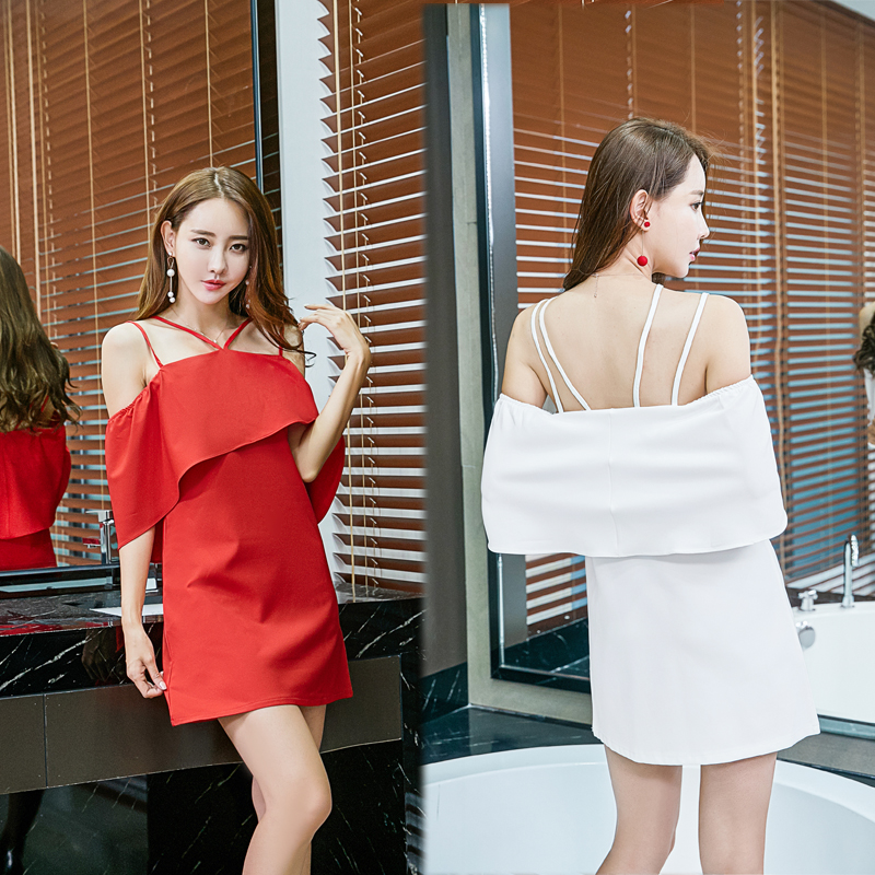dc428e44e0dd Sexy Strapless Dresses New Korean Style Women Fashion Ruffled Black Red  White Ladies Club Party Off Shoulder Mini Dress 8281-in Dresses from Women's  ...