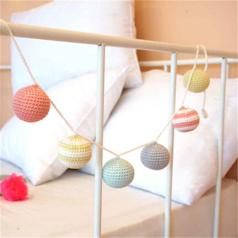 Nordic Crochet Ball Garlands Wedding Decoration Kids Room Wall Decorations Nursery Baby Shower Gifts Toy Suspension Crafts