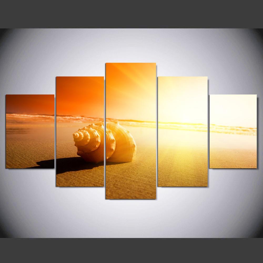 5 ШТ. Холст Wall Art Картина Горячей Продажи Африканских Сияющий Пляж И Seacape Модульная Фотографии На Украшения IM-168