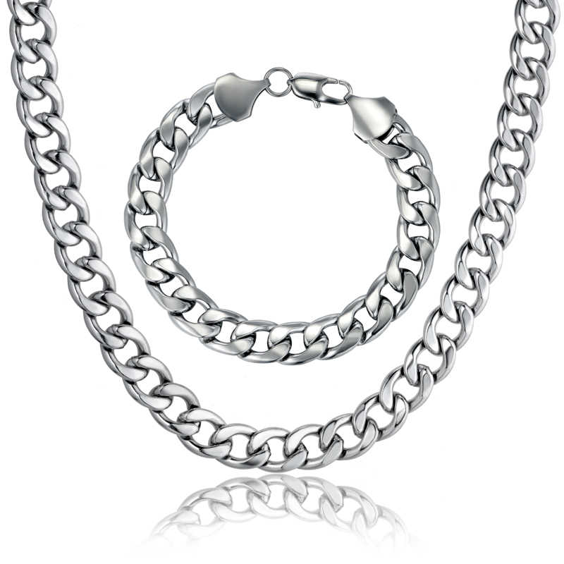 Nuevo estilo, cadena de eslabones cubanos, collar y pulsera, conjunto para regalo de hombres, venta al por mayor, conjuntos de joyas de acero inoxidable de Color dorado de Dubai africano