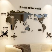 Modern dünya haritası akrilik dekoratif 3D duvar Sticker oturma odası yatak odası için ofis dekor 5 boyutları DIY duvar Sticker ev dekor