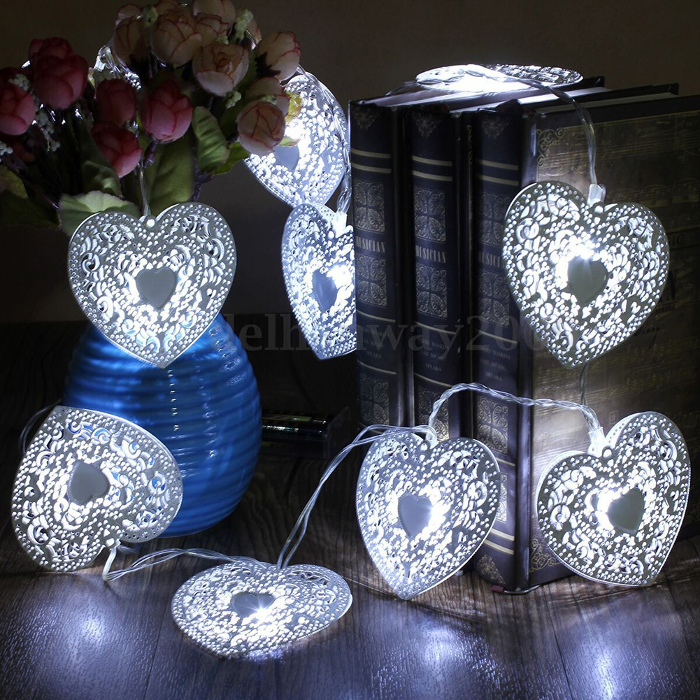 10LED Christmas Heart String Lights Festival Party Wedding Decor Indoor/Outdoor Lighting Warm White Fairy Light high quality