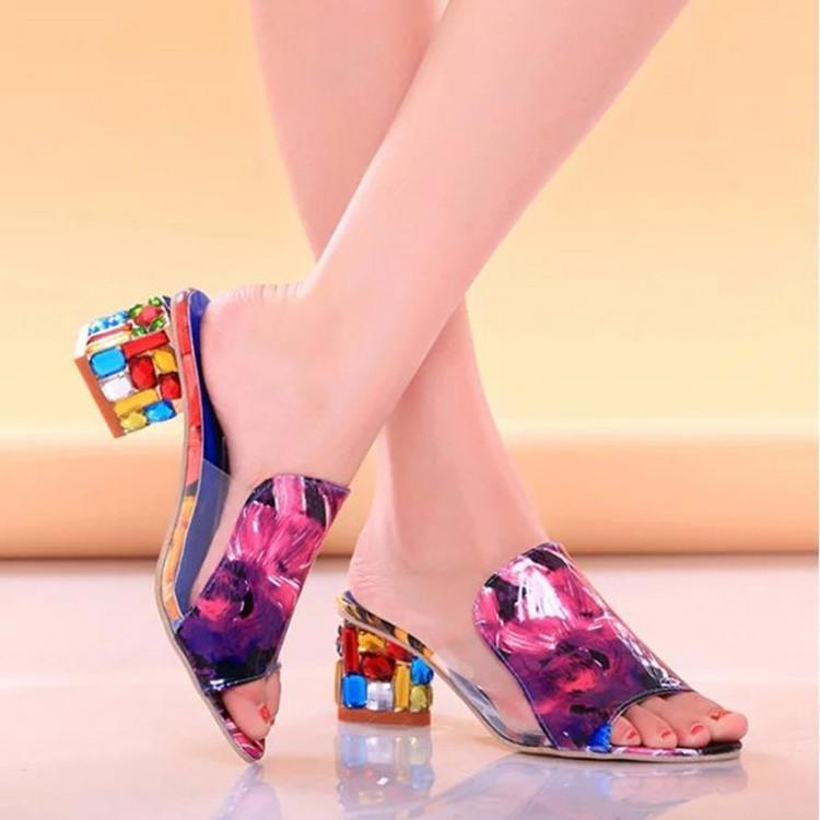 63eb80c841 US $21.0 |2018 Summer Pu Leather Women Slides Sandals Shallow Rhinestone  Ladies Shoes Woman Thick Heel Crystal Slippers Thick Heel Shoes-in Slippers  ...