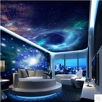Online buy wholesale ceiling wallpaper galaxy from china for Ceiling mural in a smoker s lounge