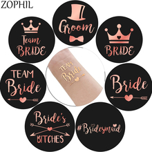 ZOPHIL 7pcs Wedding Decoration Rose Gold Tribe Bachelorette Tattoos Hen Party Accessories Team Bride To Be Bachelor Bridesmaid