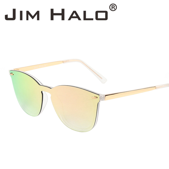 c755c5ce7c Jim Halo Vintage Rimless Square One Piece Mirrored Reflective Flat Lens  Sunglasses Women Men Retro Classic