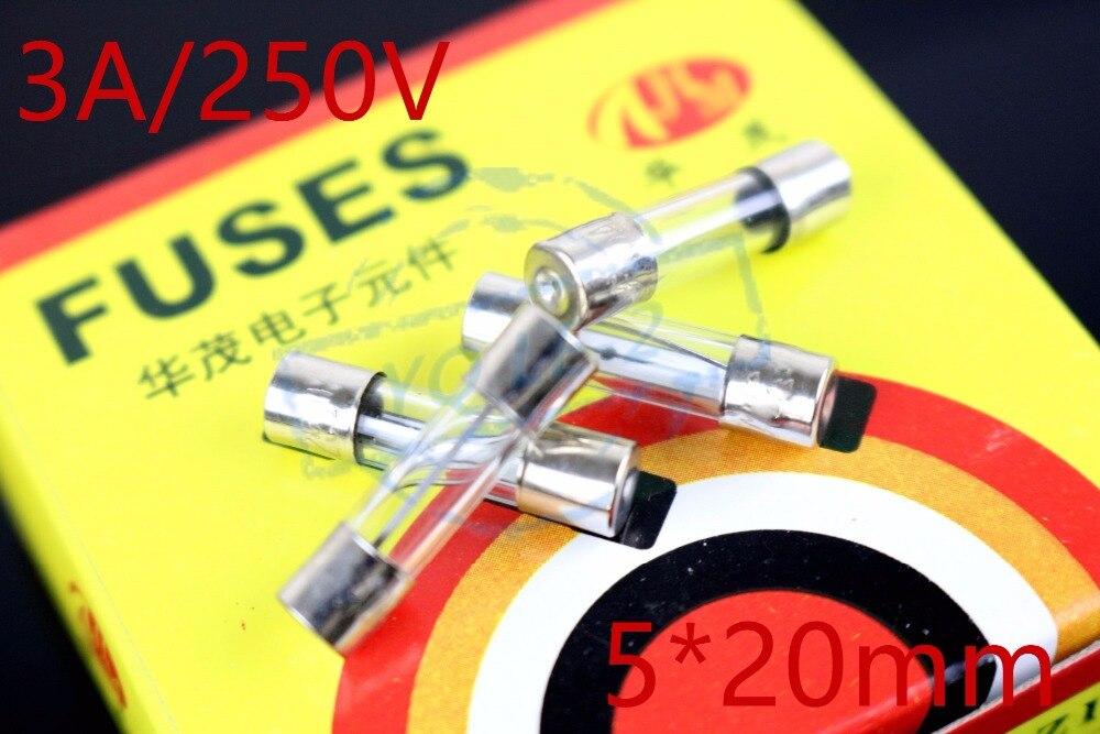 20pcs/lot Glass Tube Fuses 5x20mm 3A 250v Assortment Kit fuse