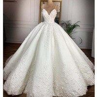 Vintage Lace Floral Wedding Dresses 2019 Casamento 3D Flower Bridal Ball Gowns V neck Lace Up Plus Size Bride Dress Gelinlik