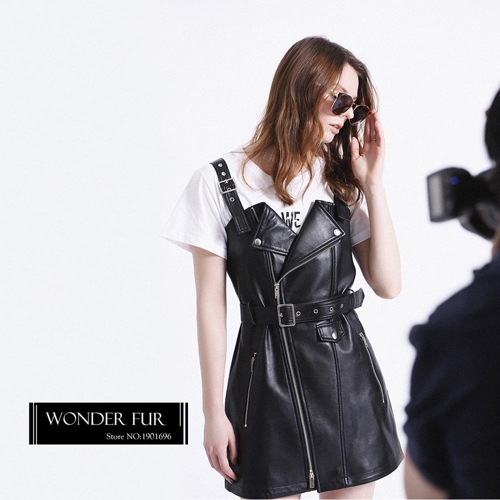 Popular Style Leather Strap Dress Ladies Trend Sheepskin Dress Black - Women's Clothing