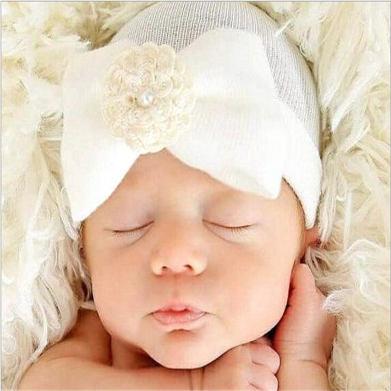 65bee5b5328987 4 Color Sweet Baby Girl Warm Tire Cap Newborn Kids Soft Bow Flower Striped  Knit Hat Beanies Accessories for 0-6Month