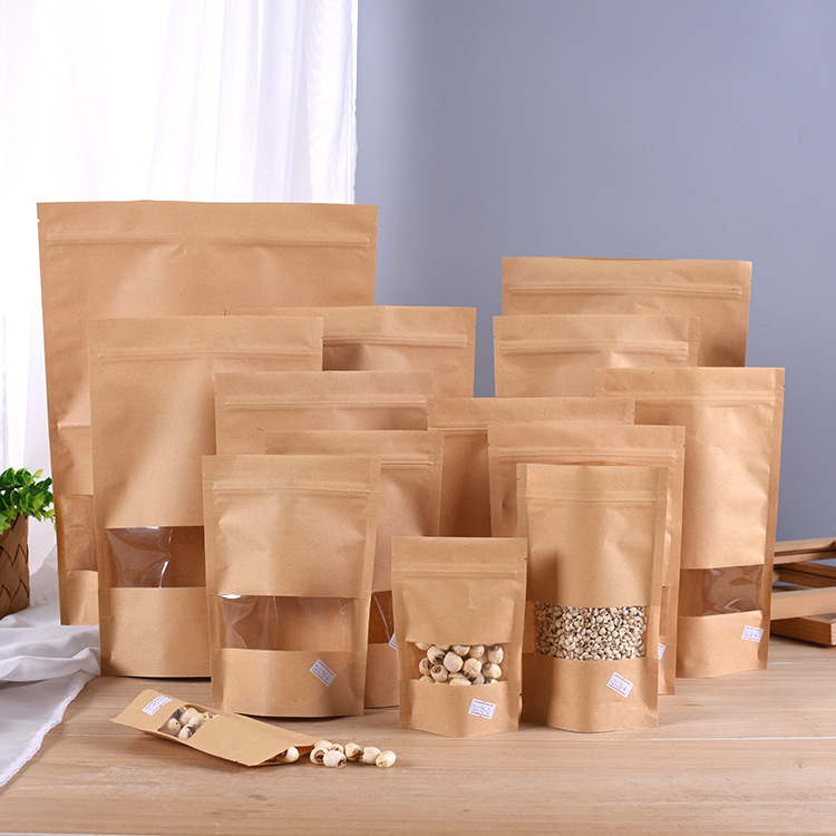 Kraft Paper Bags Zip Lock Stand-up Reusable Sealing Food Pouches With Matte Window And Tear Notch For Storing Cookie