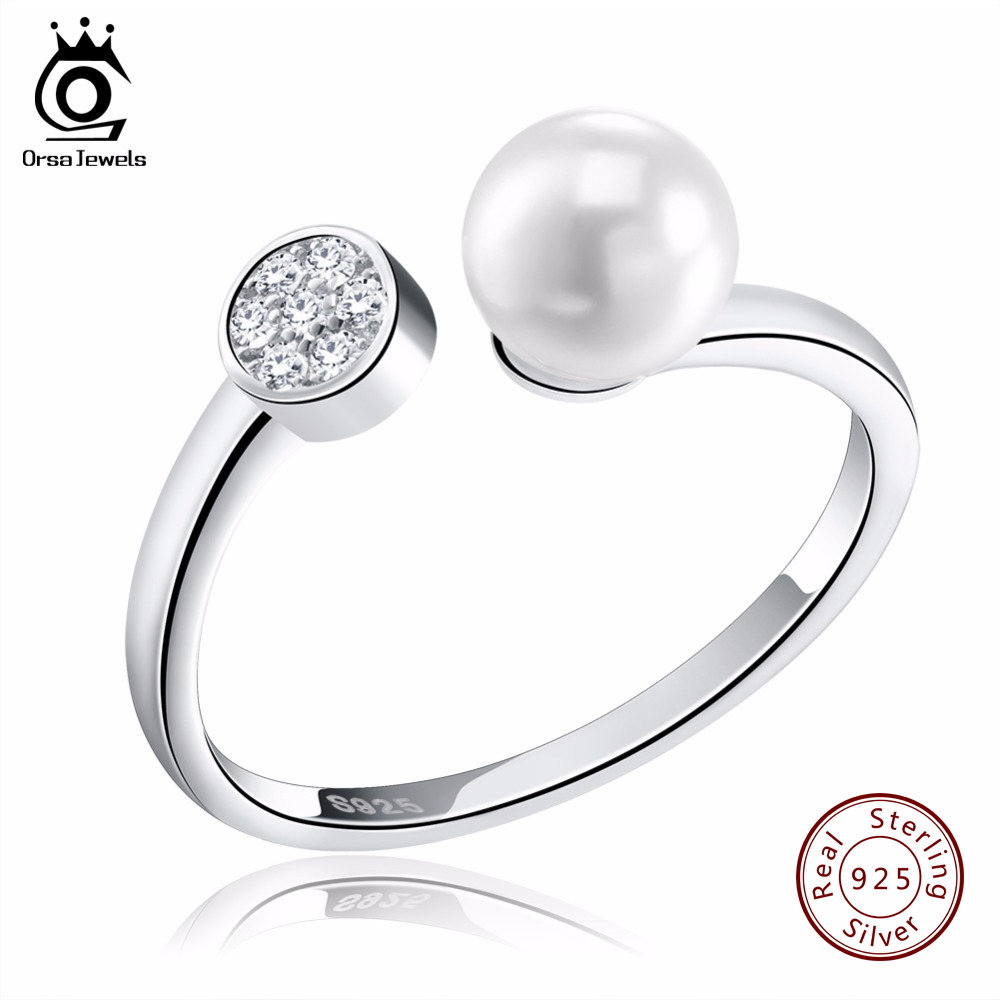 ORSA JEWELS Adjustable Imitation Pearl Ring Sterling Silver 925 Jewelry CZ Paved Ring for Women Christmas Gift 2018 Rings SR15