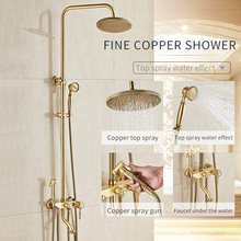 цена на GEYO Bathroom Brass Antique Wall Mount Shower Set Faucet Double Handle with Handshower + Shelf Bathroom Shower Mixer Tap