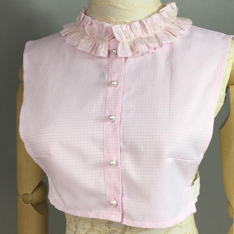 Новинка, Милая Кружевная накидка, рубашка с воротником, женская блузка, розовый, синий цвет, милый воротник из хлопкового кружева, дикая леди...