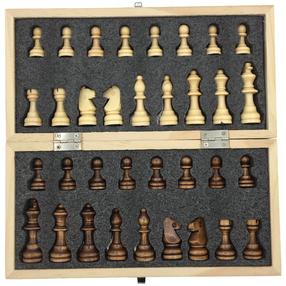 Magnetic & Folding Wooden Chess Set Board Size 23.7 cm x 23.7 cm Extra Queen Board Games Kids Gift Toy For Travel Portable ...