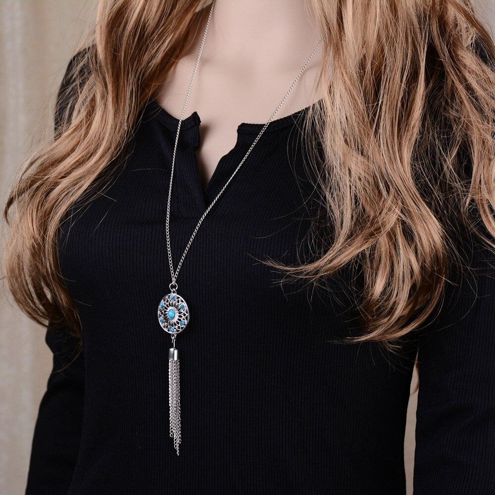 Antique Silver Plated Blue Faux Stone Lotus Flower Pendant Necklace