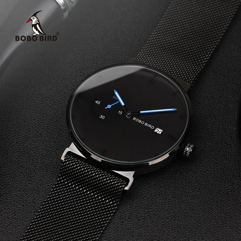 3d27893be42 BOBO PÁSSARO Relógio Homens Relogio masculino de Aço Inoxidável Data de  Exibição do Relógio de Senhoras Logotipo Personalizado U R18 em Relógios de  quartzo ...