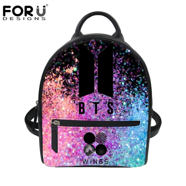 c6878b1ff98 US $9.74 25% OFF|FORUDESIGNS BTS Backpacks Bag Cartoon Ladybug Print Small  Rucksack for Girls Women PU Daypack Dragon Ball Student School Bookbag-in  ...