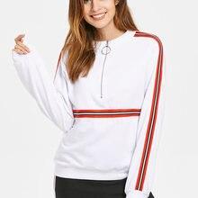 10b5b6719 Wipalo Women Casual Hoodies Punk Sweatshirts Winter Autumn Long Sleeve  Jacket Half Zipper Coat Stripes Insert
