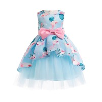 Summer Dress Kids Baby Girls Floral Printed Princess Birthday Dresses Infant Party Dress for Children 3 4 6 8 10 Years Old