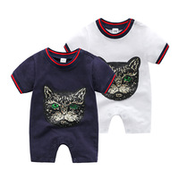Retail Summer New Baby Round Animal Cotton Short sleeve toddler christmas romper cute baby clothes infant pajamas 0 3 6 9 months