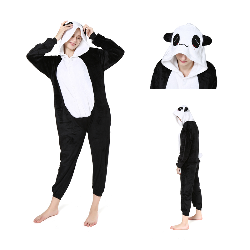 2019 Adults Animal   Pajamas     Sets   Cartoon Winter Warm Sleepwear Cosplay Panda   Pajamas   Kigurumi Women Men Flannel Hooded Pijama