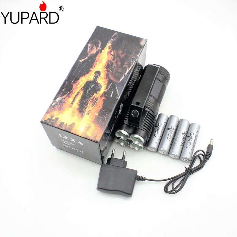 YUPARD camping outdoor Bright Flashlight Torch Spotlight Searchlight 4* XM-L T6 LED+4*18650 rechargeable battery+charger men s desert military boots touch guy cow suede genuine leather ankle martin boot