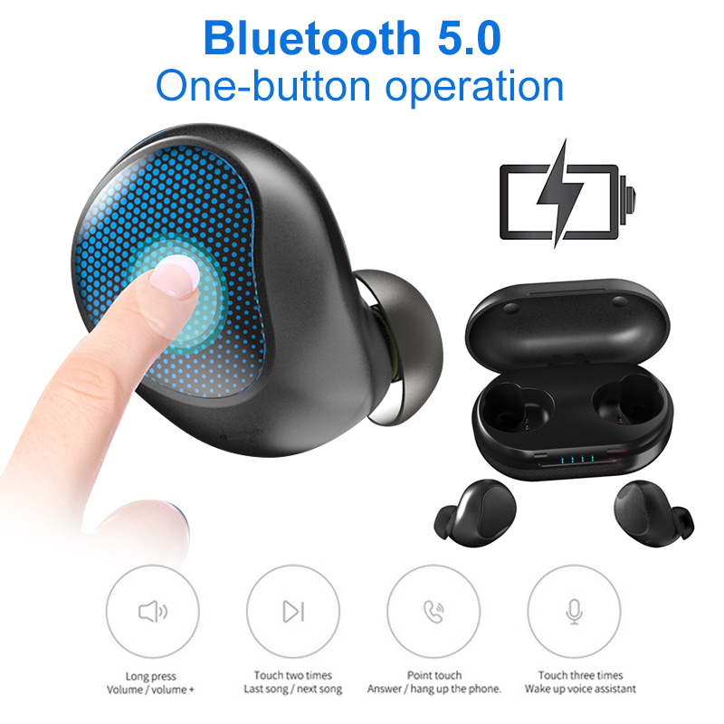 Mini Wireless V5.0 Bluetooth Earphone Stereo Earbud Headset With Charging Box Mic For iPhone Xiaomi