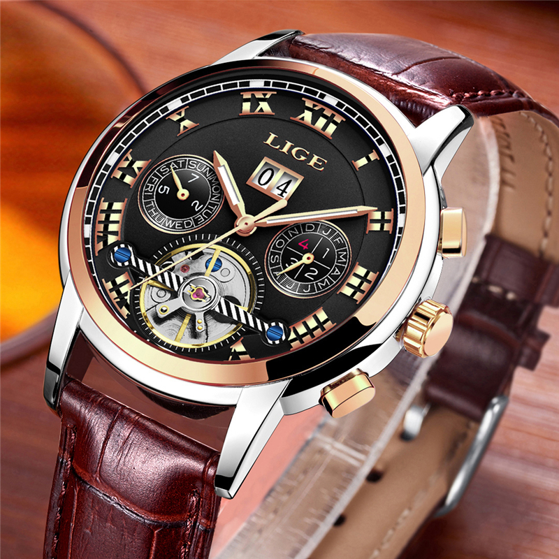 Men Waterproof Sport Mechanical Casual Leather Wristwatch Reloj Automatico De Hombre
