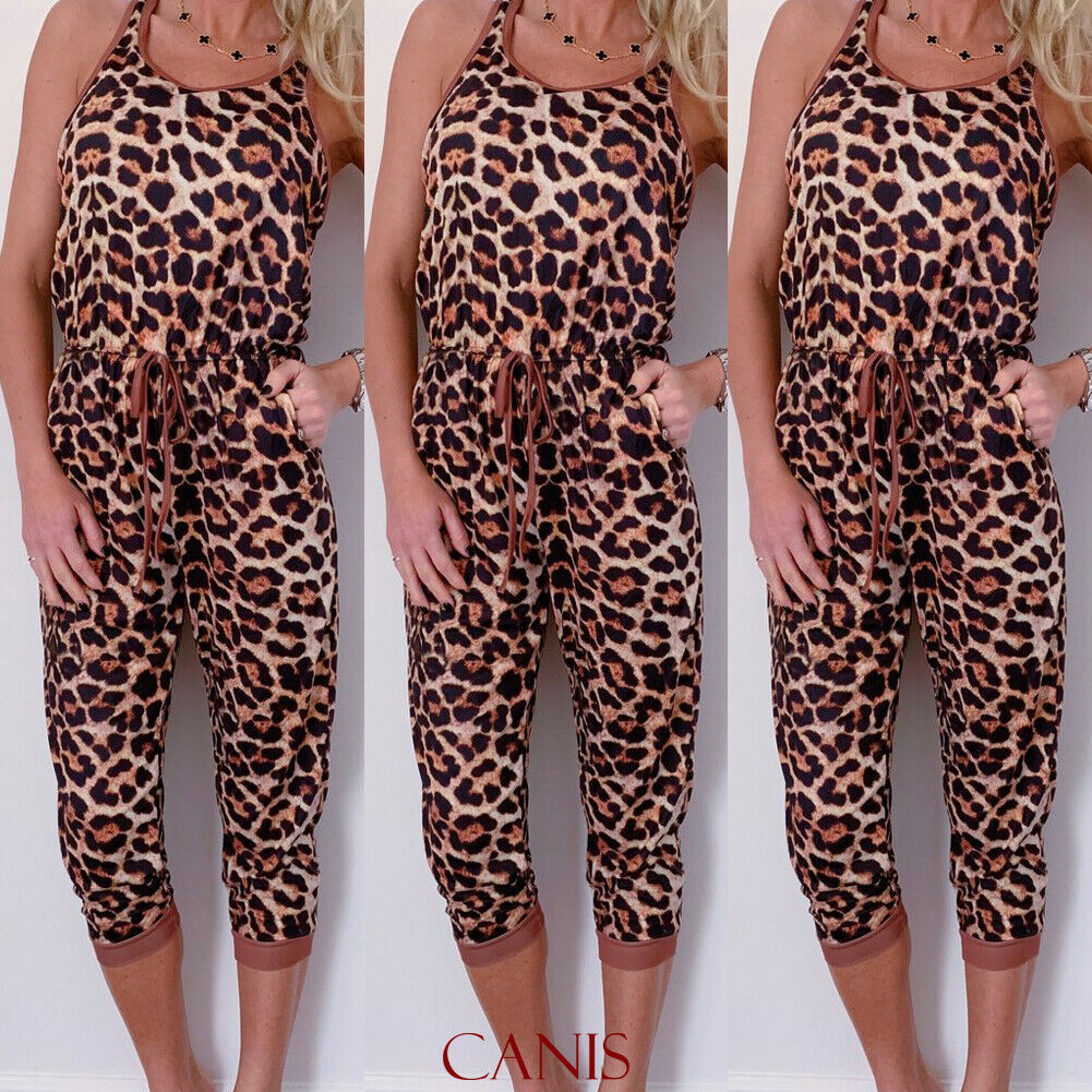 Women's Sleeveless Leopard Print Party Summer Casual Long Pencil Jumpsuit Romper