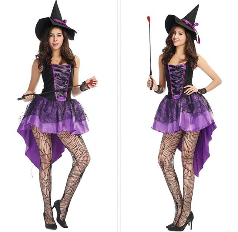 Purple tuxedo Halloween  witch long vampire suit queen costume black short sleeve with hat short dresses A018