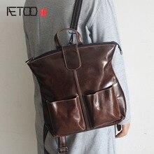 AETOO новый первый слой кожи просто плеча сумку отдыха моды дикие дамы рюкзак мужчины кожаные сумки